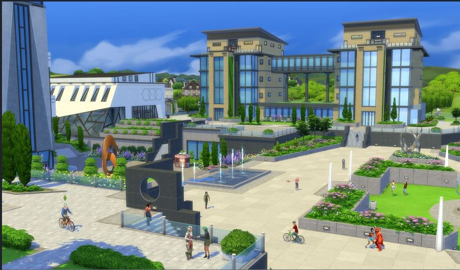 A screenshot showing simple and generic university - with meeting place library and students naturally