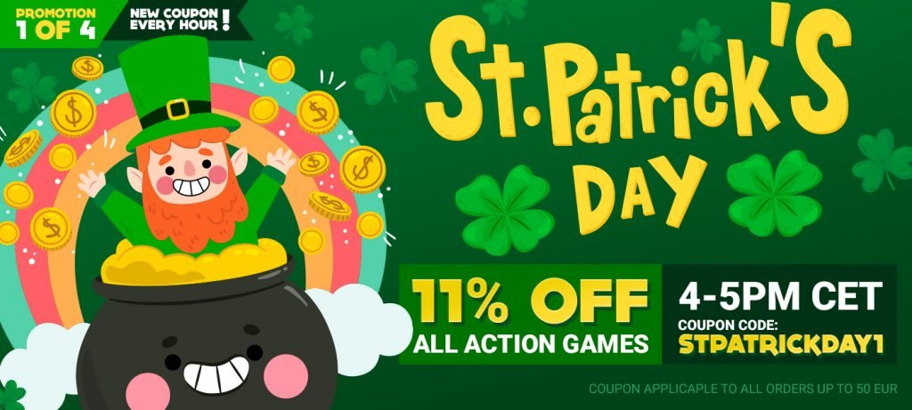 St.Patrick's Day gamivo logo which shows leprechaun in pot of gold and little happy rainbow