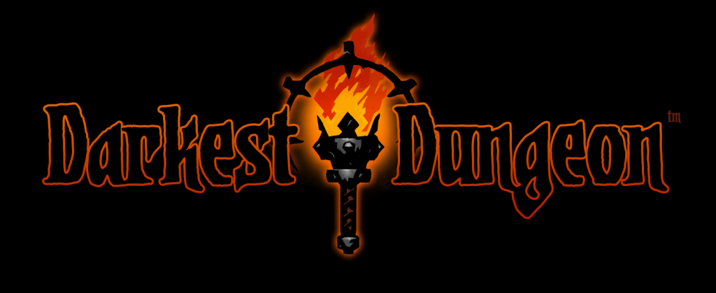 Darkest Dungeon logo with a cartoony torch - a great game for less than 5 euro
