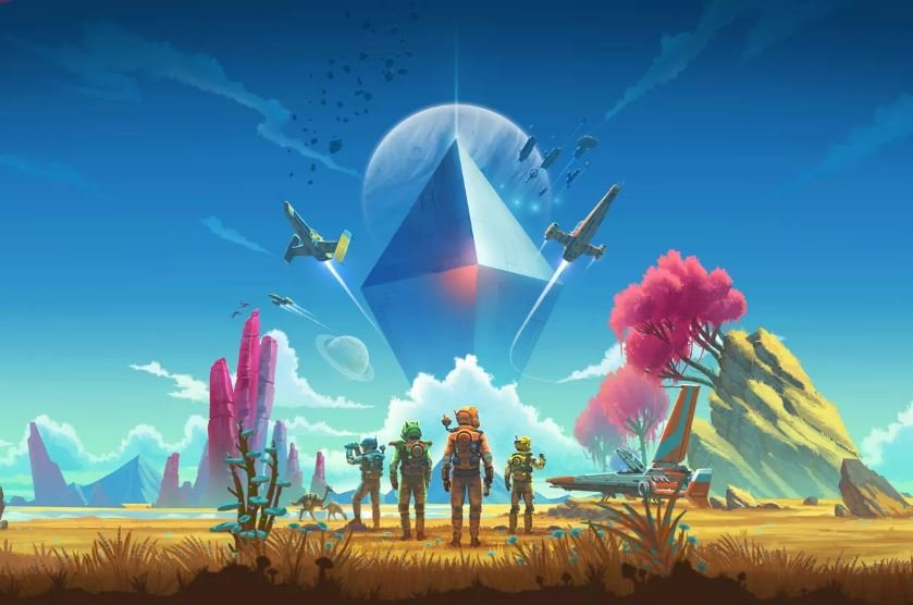 No Man's Sky wallpaper with iconic crystal in centre and explorers landing on unknown arid planet