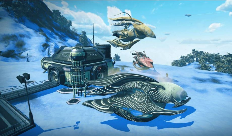 No Man's Sky screenshot with arctic base compartments and uniquely designed spaceships that resembles fishes