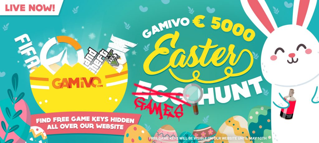 Gamivo Easter Games Hunt showing broken egg filled with games, 5000€ value and little white bunny