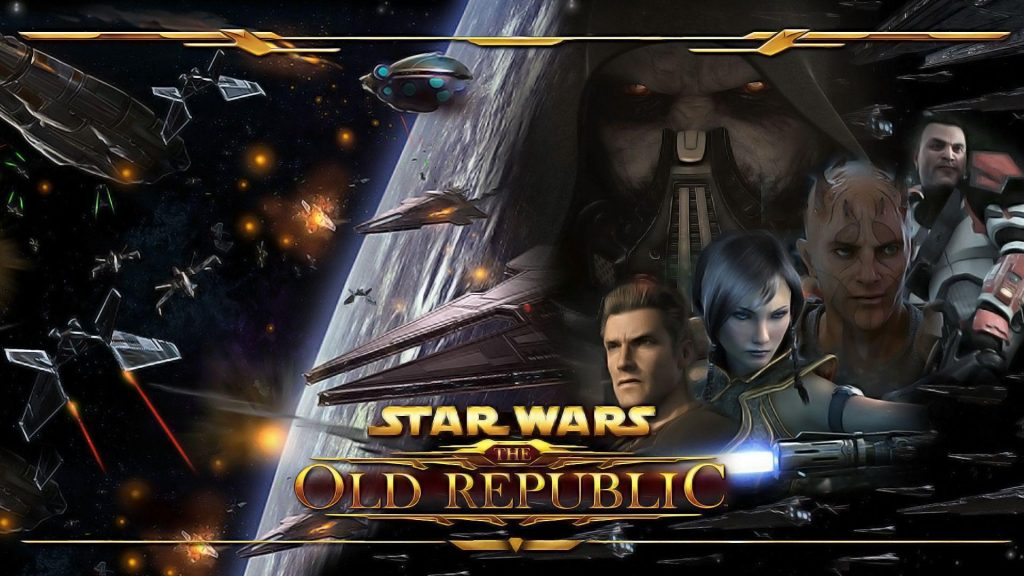 Star Wars The Old Republic wallpaper with amny characterss and the game name in the center. The best Star Wars MMO available