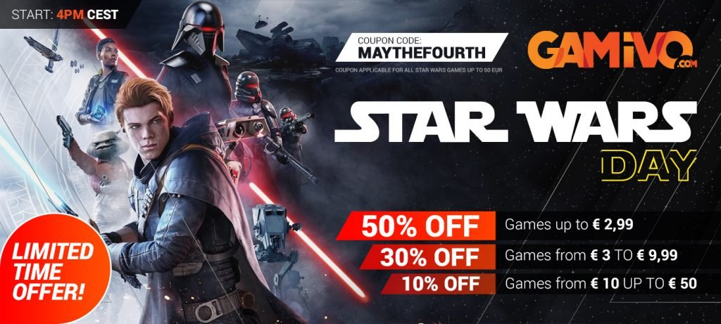 Star Wars Day gamivo banner with discounts on it
