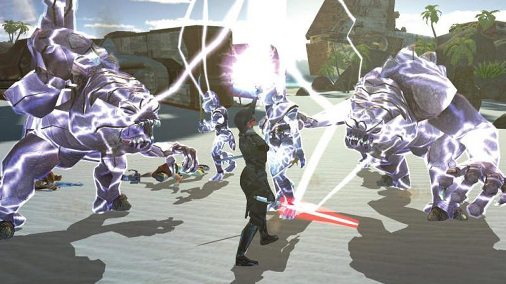 Knights of The Old Republic screenshot showing sith killing rancors with lightning